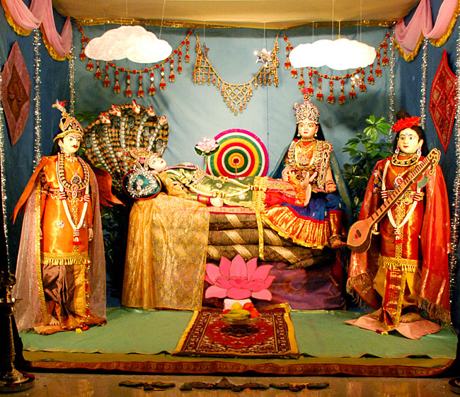 Lord Vishnu, his consort and Narada Muni